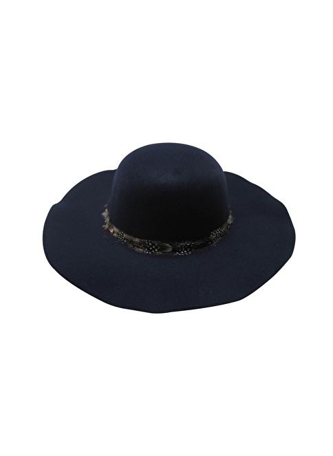 Laslusa İçten Ayarlanabilir Keçe Geniş Kenar Şapka Lacivert